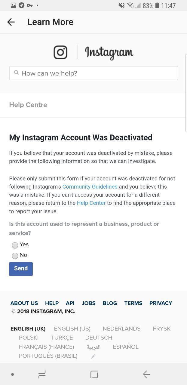 دیسیبل شدن در اینستاگرام , رفع مشکل غیر فعال شدن حساب کاربری در اینستاگرام